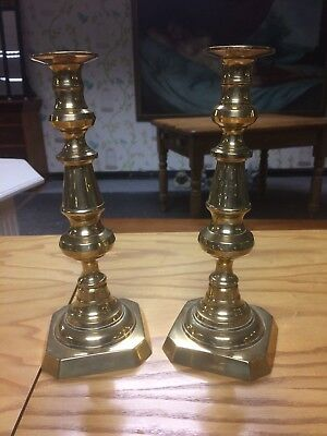 Antique 19th Century Victorian Pair Of Brass Candlesticks With Stump Ejectors