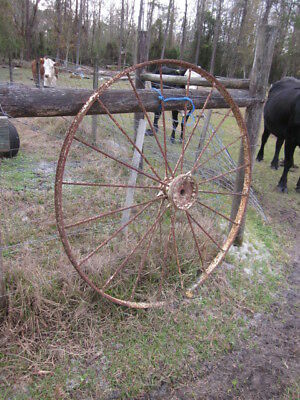 Antique Iron Farm Implement Wheel ~Old Vintage Industrial /Rustic Barn Decor 5FT
