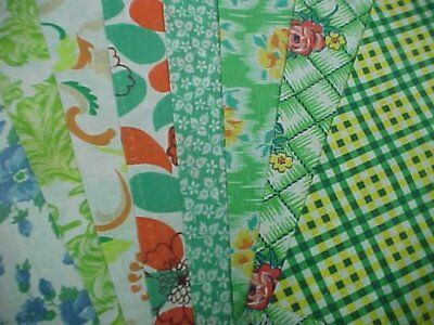 "BEST 20 Vintage ALL GREEN Feedsack Fabric Quilt  5 x 8"" Charms Flour Sack Pcs"