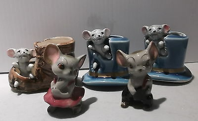 Lot 5 Vintage Mice Toothpic Holders & Figurines Japan