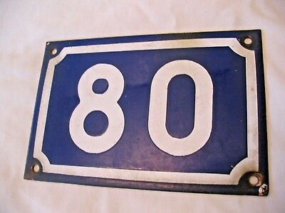 Original old reclaim vintage Blue and White French enamel house number 80
