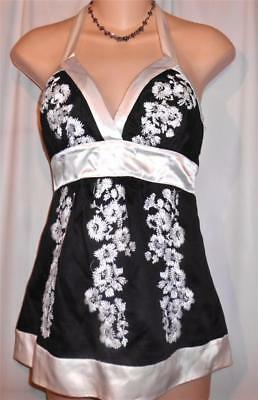 Bebe Sexy Black White Floral Embroidered Silk Trim Halter Top Size Xs