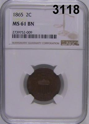 1865 Ngc Certified Ms 61 Bn 2 Cent Nice Brown Surface! #3118