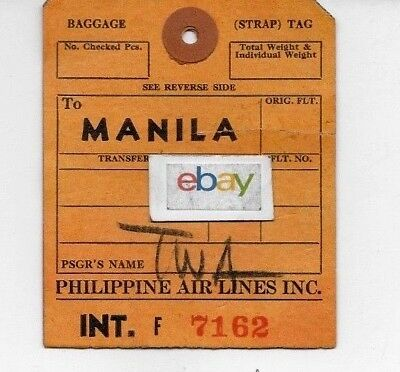 Philippine Air Lines To Manila Luggage Tag 1960