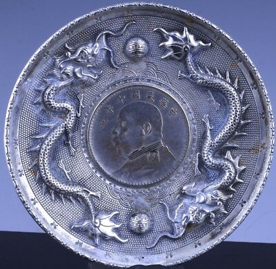 RARE ANTIQUE CHINESE STERLING SILVER DRAGON FIGURAL TRAY DISH w INLAID COIN
