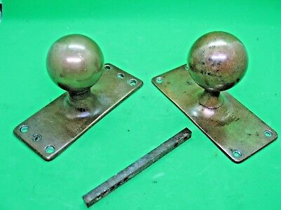Pair old antique art deco reclaim Gibbons style door knobs on backplates