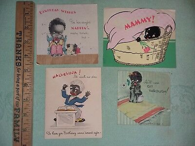 Vintage Four Black Americana Greeting Cards Baby More
