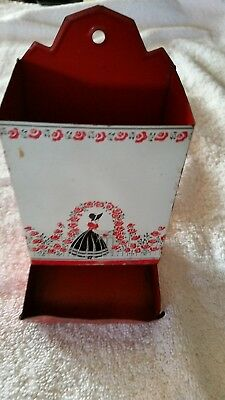 Antique Kitchen Match Stick Holder Red White Black -Victorian Lady Red Roses