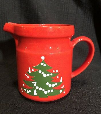 Waechtersbach Red Christmas Tree Pitcher West Germany 6 inches tall