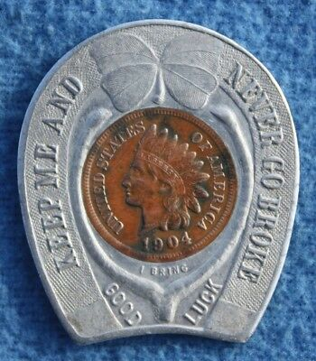 Unusual 1904 Louisiana Purchase Exposition Encased Good Luck Indian Head Penny