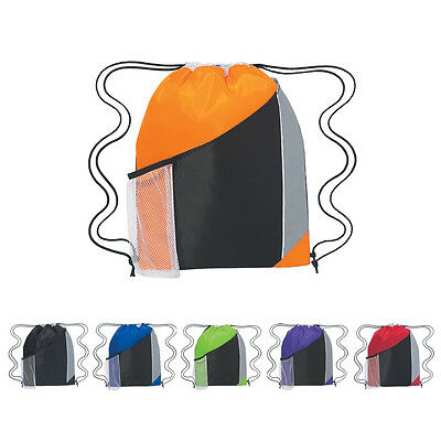 Tri-Color Drawstring Backpacks With Pockets Lot Of 100