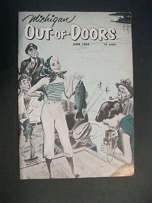 VTG 1952 June Michigan MI Out of Doors Magazine Hunting Fishing BASS Boat Fish