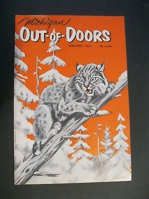 VTG 1951 February Michigan MI Out of Doors Magazine Hunting Fishing Artist Sign