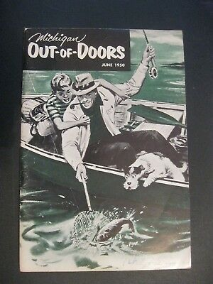 VTG 1950 June Michigan MI Out of Doors Magazine Hunting Fishing BASS Fish Boat