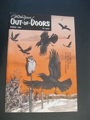 VTG 1951 March Michigan MI Out of Doors Magazine Hunting Fishing Hunt Fish OWL