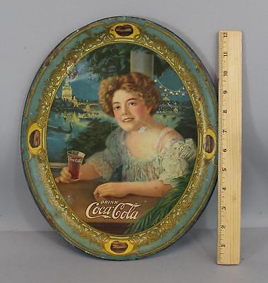 Large Antique 1904 Coca-Cola Exhibition Girl Advertising Lithograph Tray