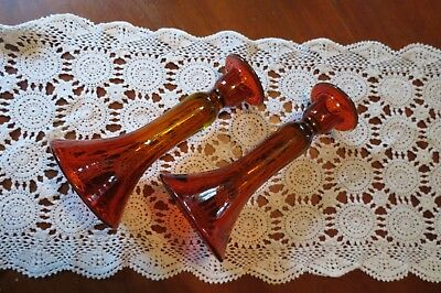 Vintage Bohemian Czech Art Glass Orange AMBER Tall Candle Sticks