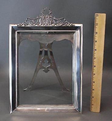 Large Antique Victorian Tiffany & Co Sterling Silver Picture Frame Beveled Glass