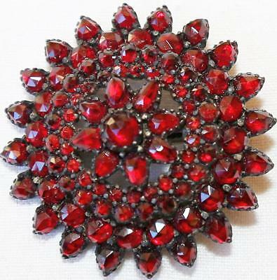 Vtg Antique Victorian Rose Cut Pyrope Garnet 3 Tier Brooch Pin Circa 1880! Wt43