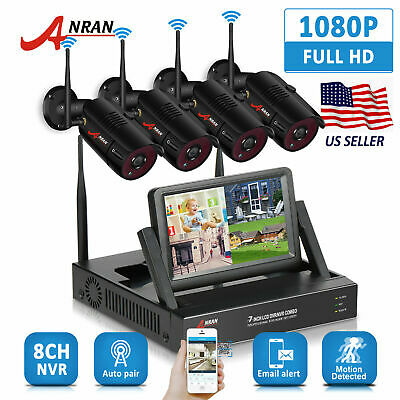"""ANRAN WiFi CCTV 4CH 7""""LCD NVR HD IP Camera Wireless Security System Night Vision"""