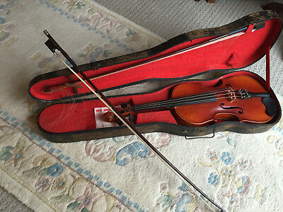 Vintage Antonius Stradivarius Copy Made In Czecho-slovakia 1940'S Violin W/ Case
