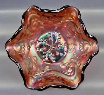 Carnival Glass - Fenton FEATHERED SERPENT Amethyst Ruffled Berry Bowl 3796