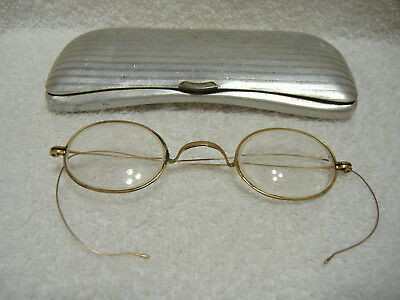 Antique Vintage Hardy Gold Wire Rim Eyeglasses Very Old Nice Condition