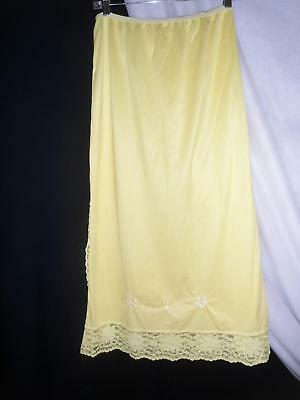 Vintage OPALAIRE Formal Long YELLOW Half slip Large L Duponts Antron III Nylon