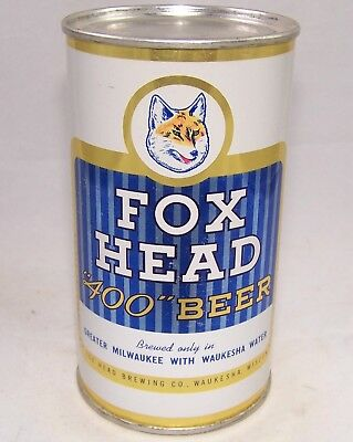 Fox Head 400 Flat Top Beer Can, Rolled, Clean, Wisconsin