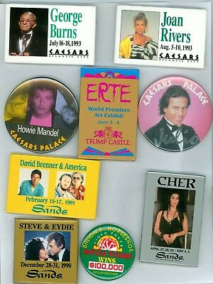 9 Vintage 80-90s Casino Headliners Advertising Pinback Buttons Burns Rivers Cher