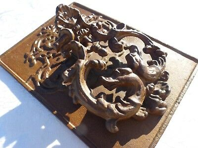 STUNNING Antique Bronze on Cast Iron Large Heavy Door Knocker with Dragons