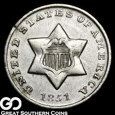 1851-O Three Cent Silver, Key Date New Orleans Issue