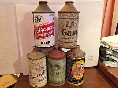 5 Different Cone Top Beer Cans, 2 IRTP