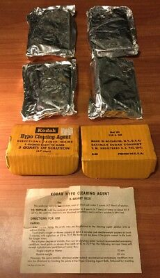 4 Kodak Hypo Cleaning Agent Packs - New Vintage Stock In Sealed Bags
