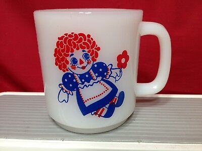 Vintage Raggedy Ann and Andy Glasbake Glass Milk White Coffee Cup Mug Picture