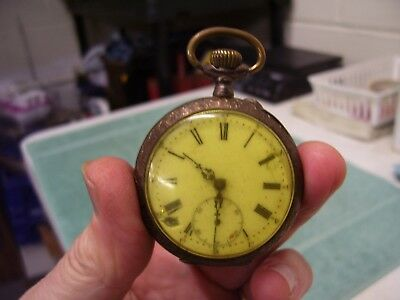 Antique Remontoir Cylindre 10 Rubis Gold Toned Pocket Watch - repair/parts