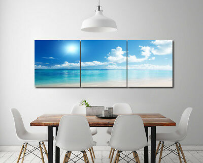 """16x16""""x3pc Nordic Home Blue sky and white clouds Decor Modern Art Prints Canvas"""