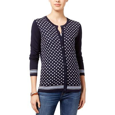 Tommy Hilfiger 3650 Womens Navy Knit Polka Dot Cardigan Sweater Top M BHFO