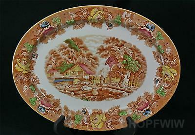 """Vintage Antique Woods & Sons 14"""" Oval English Scenery Platter Circa 1917"""