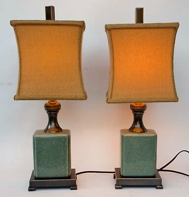 Pair Of Modern Asian Chinese Celedon Green Ceramic Table Lamps + Shades