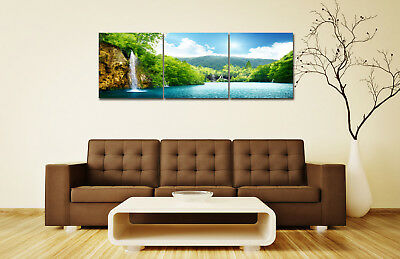 """16x16""""x3pc Nordic Home Green mountains and rivers Decor Modern Art Prints Canvas"""