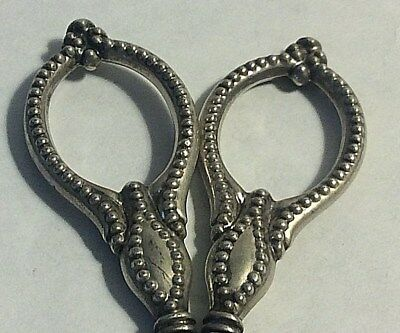 Antique Small Beaded Sterling Silver Embroidery Sewing Scissors #393