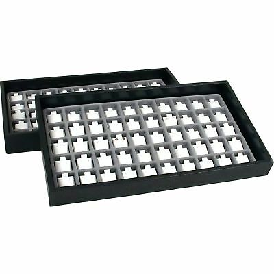 100 White Puff Earring Cards & Display Tray
