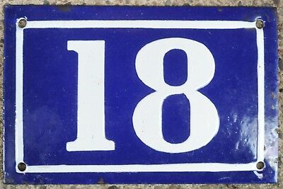 Old blue French house number 18 door gate plate plaque enamel metal sign c1950