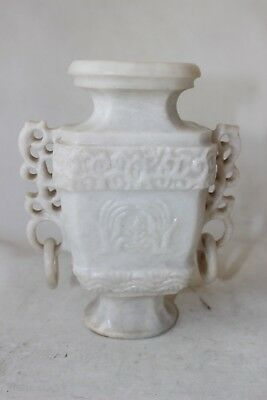 Chinese soapstone marble jade albast stone carved carving vase openwork handles