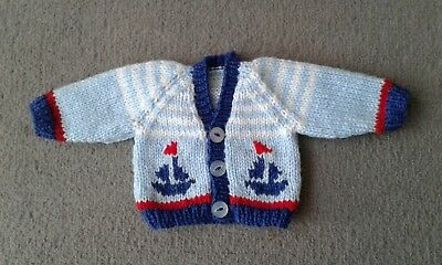 Prem premature baby cardigan hand knitted boy blue boats nautical