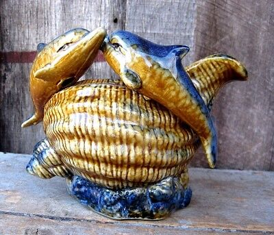 Vintage Style Gold & Blue Pottery Dolphin Conch Shell Home & Garden Planter Pot