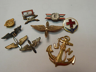WWII WW2 AAF Air Corps & US Army, Navy, Red Cross Pin Lot