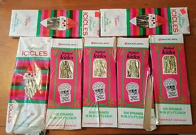 Lot of 7 Boxes Vintage Doubl Glo & Brooklawn NOS Christmas Tree Icicles Tinsel
