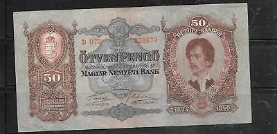 Hungary #99 1932 Vg Circulated 50 Pengo Old Vintage Banknote Paper Money Note
